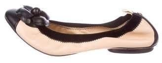 Chanel Camellia CC Leather Flats