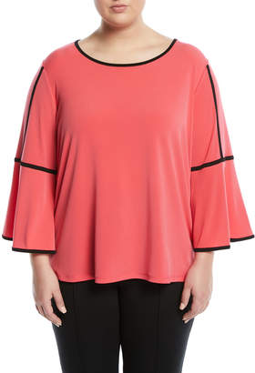 Iconic American Designer Piped Bell-Sleeve Tee, Plus Size