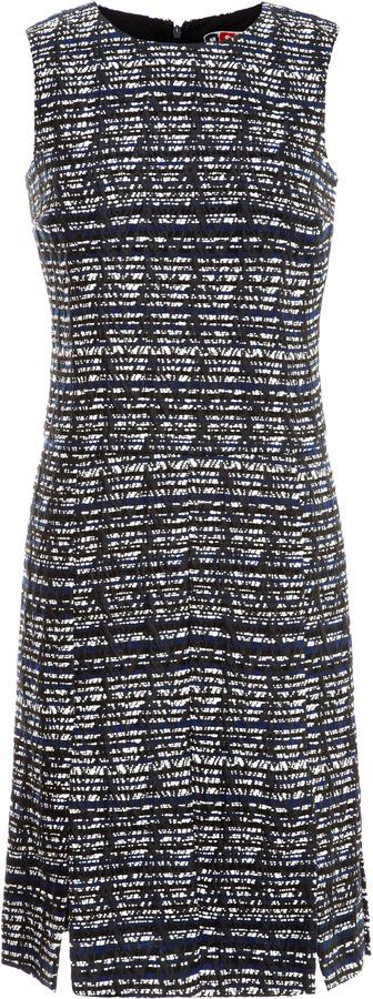 MSGM Tweed Jacquard Shift Dress with Car Wash Hem