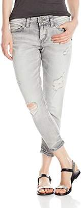 Silver Jeans Women's Elyse Eased Curve-Fit Mid-Rise Ankle Skinny-Leg Crop Jean
