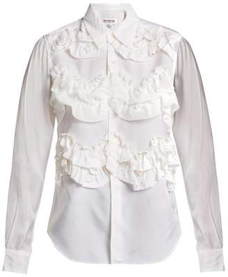 Comme des Garcons Ruffled Woven Blouse - Womens - White