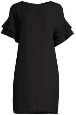 Donna Karan Pleated Sleeve Shift Dress