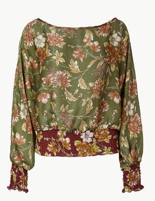 Limited Edition Floral Print Slash Neck Long Sleeve Blouse