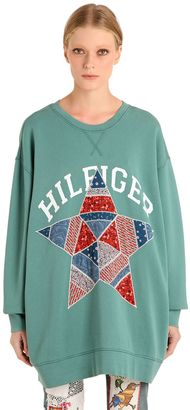 Star Patchwork Cotton Sweatshirt $260 thestylecure.com