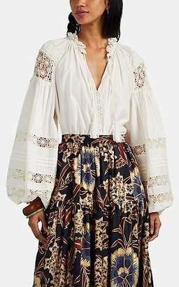 Ulla Johnson Women's Gemma Crochet-Trimmed Poplin Blouse - White