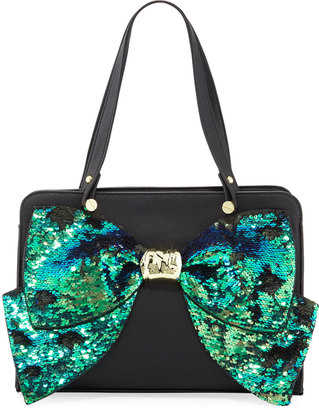 Betsey Johnson Bow Regard Sequin Satchel Bag, Black $76 thestylecure.com