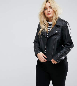 Brave Soul Plus Pu Biker Jacket With Lace Up Sleeve Detail