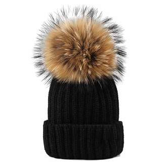 8d4a665aa7a Zesoma Knitted Real Fur Hat Real Raccoon Fur Pom Pom Hat Winter Women Hat  Beanie for