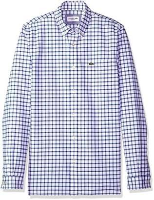 Lacoste Men's Long Sleeve Oxford Tiled Button Down Collar Reg Fit Woven Shirt