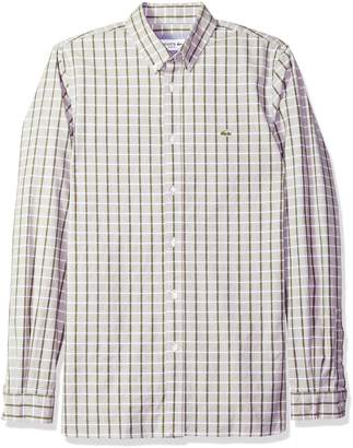 Lacoste Men's Long Sleeve Oxford Check Button Down Collar Slim Woven Shirt, CH4998