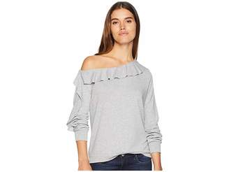 1 STATE 1.STATE Off Shoulder Ruffled Edge Cozy Top