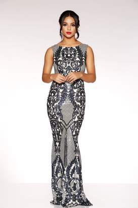 f126c304ba Quiz Navy And Nude Sequin Mesh High Neck Fishtail Maxi Dress