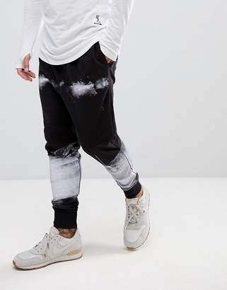 Religion Drop Crotch Jogger With Paint Print