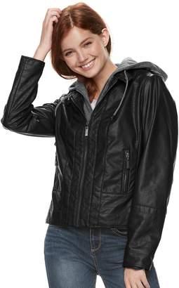 Moto J 2 Juniors' J-2 Hooded Faux-Leather Jacket