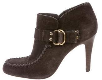 Tory Burch Suede Round-Toe Booties