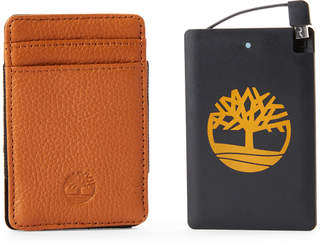 Timberland Two-Piece Tan Leather Wallet & Pocket Charger Set