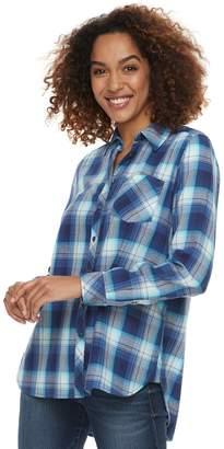 Sonoma Goods For Life Women's SONOMA Goods for Life High-Low Plaid Shirt
