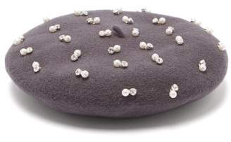 Benoit Missolin Pearl and crystal-embroidered wool beret