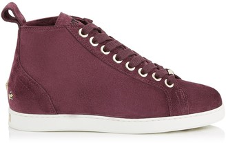 Jimmy Choo COLT/F Grape Velvet Suede High Top Trainers with Shearling Lining