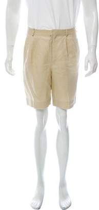 Ralph Lauren Purple Label Pleated Linen Shorts