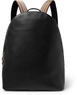 Paul Smith Stripe-Trimmed Full-Grain Leather Backpack