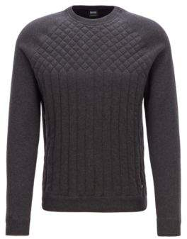 BOSS Hugo Knitted sweater in a melange quilting details XXXL Charcoal