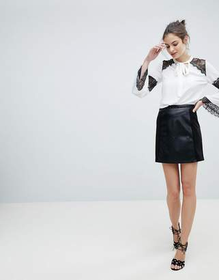 Lipsy Faux Leather Skirt With Stud Waistband
