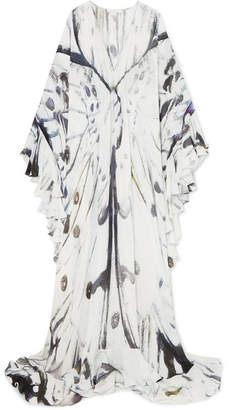 Naeem Khan Ruffled Printed Silk-chiffon Gown - White