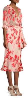 Saloni Olivia Floral Silk Midi Dress