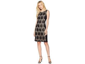 Nine West Medallion Lace Jersey Combo Sleeveless Dress Women's Dress