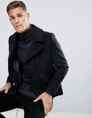 Burton Menswear pea coat in faux wool in black