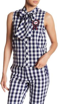 Love Moschino Fiocco Gingham Necktie Blouse