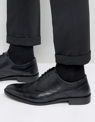 Asos DESIGN Oxford Brogue Shoes in Black Leather