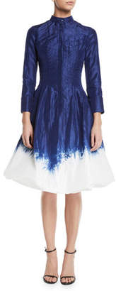 Oscar de la Renta Long-Sleeve Dip-Dye Bubble-Hem Fit-and-Flare Dress