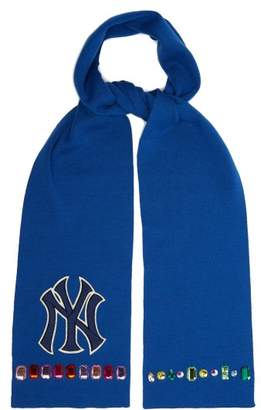 Gucci Ny Yankees Crystal Embellished Wool Scarf - Womens - Blue