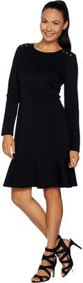 Du Jour Long Sleeve Ponte Knit Dress with Button Detail