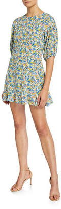 Faithfull The Brand Jeanette Floral Crewneck Elbow-Sleeve Mini Dress