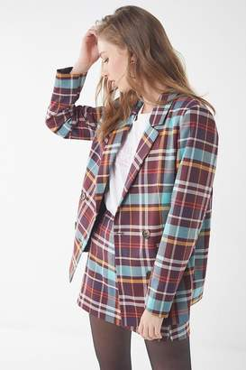 Urban Outfitters Checkered Double-Breasted Blazer