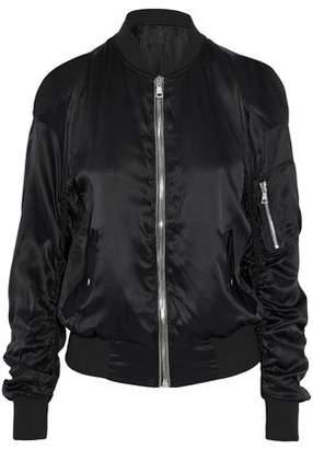 RtA Jester Cold-Shoulder Silk-Satin Bomber Jacket