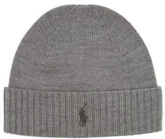 Polo Ralph Lauren Logo Embroidered Fine Knit Merino Wool Beanie - Mens - Grey