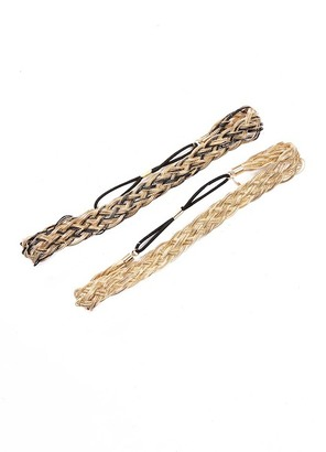 Natasha Accessories Braided Chain Stretch Hairband Set - Set of 2 $15.97 thestylecure.com