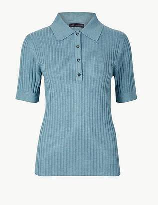 Marks and Spencer Ribbed Short Sleeve Jumper