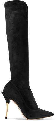 Dolce & Gabbana Cardinale Stretch-suede Knee Boots - Black