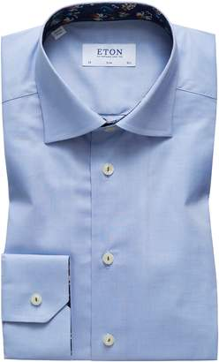 Eton Slim Fit Floral Trim Dress Shirt