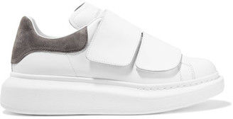 Alexander McQueen - Suede-trimmed Leather Exaggerated-sole Sneakers - White $575 thestylecure.com