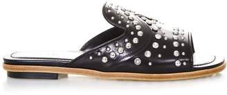Tod's Black Rhinestoned Mules In Leather
