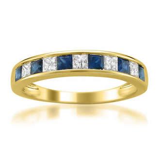 MODERN BRIDE Modern Bride Gemstone Womens 1/4 CT. T.W. Blue Sapphire 14K Gold Wedding Band