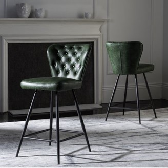 Safavieh Ashby 26 in. H Mid Century Modern Leather Tufted Swivel Counter Stool, Set of 2