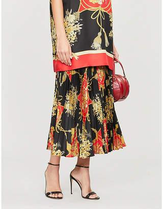 Gucci Floral-pattern silk midi skirt
