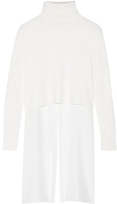 Tibi - Asymmetric Paneled Merino Wool And Silk-crepe Turtleneck Sweater - White $495 thestylecure.com